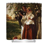 Lovers Under A Blossom Tree Shower Curtain