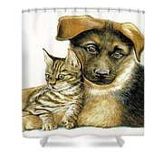 Loving Cat And Dog Shower Curtain