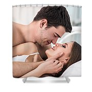 Loving Couple In Bed. Shower Curtain