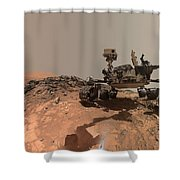 Low-angle Self-portrait Of Nasa's Curiosity Mars Rover Shower Curtain
