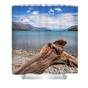 Low Angle View From The Rocky Dart River Bank At Kinloch, Nz Shower Curtain