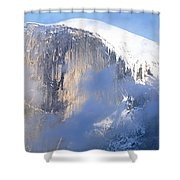 Low Angle View Of A Mountain Covered Shower Curtain