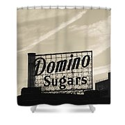 Low Angle View Of Domino Sugar Sign Shower Curtain