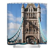 Low Angle View Of Tower Bridge, London Shower Curtain