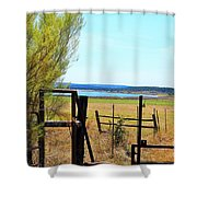 Low Land By The Lake Shower Curtain