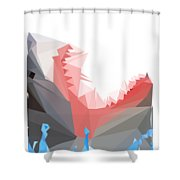 Low Poly Shark Shower Curtain