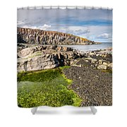 Low Tide At Cullernose Point Shower Curtain