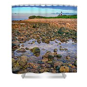 Low Tide At Montauk Point Shower Curtain