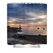 Low Tide At Salem's Lighthouse Shower Curtain