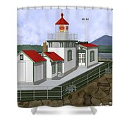 Low Tide At West Point Lighthouse In Seattle Shower Curtain