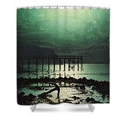 Low Tide By Moonlight Shower Curtain