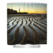 Low Tide On La Caleta Cadiz Spain Shower Curtain