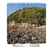 Low Tide Panorama Shower Curtain