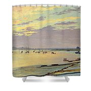Low Tide Shower Curtain by W Savage Cooper