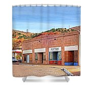 Lowell Arizona Pottery Building Old Police Car Shower Curtain