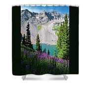 Lower Blue Lake Summer Portrait Shower Curtain by Cascade Colors