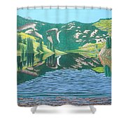 Lower Cataract Lake And Cataract Creek Falls Shower Curtain