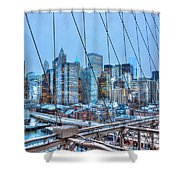 Lower East Side At Dusk From The Brooklyn Bridge Shower Curtain