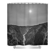 Lower Falls At Artist Point Bw  Shower Curtain