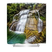 Lower Falls Profile At Enfield Glen Shower Curtain