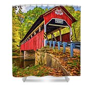 Lower Humbert Covered Bridge 2 - Paint Shower Curtain