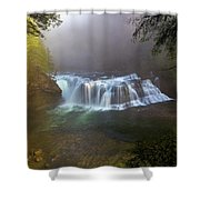 Lower Lewis Falls Foggy Morning Shower Curtain