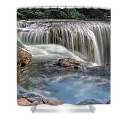 Lower Lewis River Falls Rush Shower Curtain