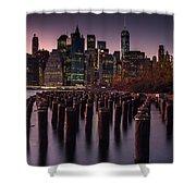 Lower Manhattan At Night Shower Curtain
