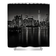 Lower Manhattan From The Brooklyn Piers Shower Curtain