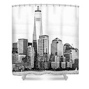 Lower Manhattan In Black And White Shower Curtain
