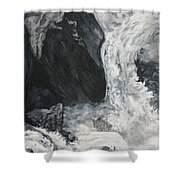 Lower Vernal Black And White  Shower Curtain