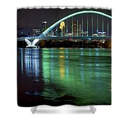 Lowry Bridge In St. Patrick's Day Green Shower Curtain