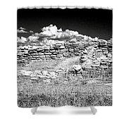 Lowry Pueblo Ruin Black And White Shower Curtain