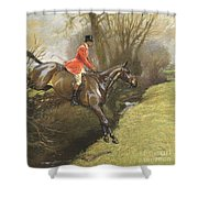 Lt Col Ted Lyon Jumping A Hedge Shower Curtain