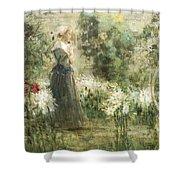 Luca Postiglione Napoli 1876 - 1936 The White Fleurs-de-lis Shower Curtain