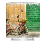Lucca Italy Bike Watercolor Shower Curtain