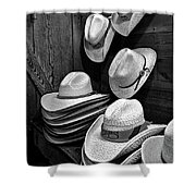Luckenbach Hats Black And White Shower Curtain