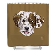 Lucky Brown Mixed Breed Shower Curtain