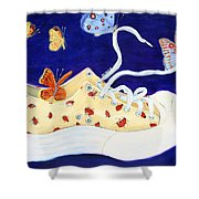 Lucky Lady Bug Shoe Shower Curtain
