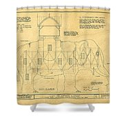 Lucy The Elephant Building Patent Blueprint  Shower Curtain