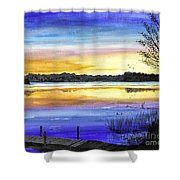 Ludington Sunrise Painting Shower Curtain