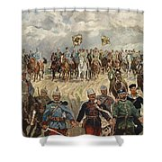 Ludwig Koch, Franz Josef I And Wilhelm II With Military Commanders During Wwi Shower Curtain
