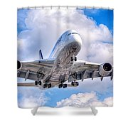 Lufthansa Airbus A380 In Hdr Shower Curtain