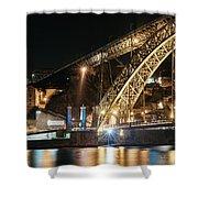 Bridge Dom Luis At Night. Porto Shower Curtain