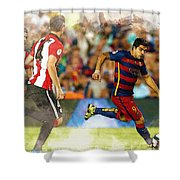 Luis Suarez Takes The Ball Past Athletic Bilbao's Eneko Boveda A Shower Curtain