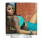 Luisa In Teal Shower Curtain