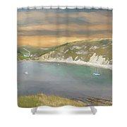 Lulworth Cove Panorama Shower Curtain