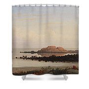 Lumber Schooners At Evening On Penobscot Bay By Fitz Henry Lane, 1863 By Fitz Henry Lane Shower Curtain