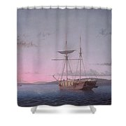 Lumber Schooners At Evening On Penobscot Bay By Fitz Henry Lane, 1863 Shower Curtain