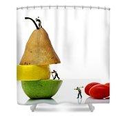 Lumberjacks Working On Fruits Shower Curtain